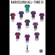 Barcelona - All-time XI poszter (2 db - 1 csomagban) és Képkeret